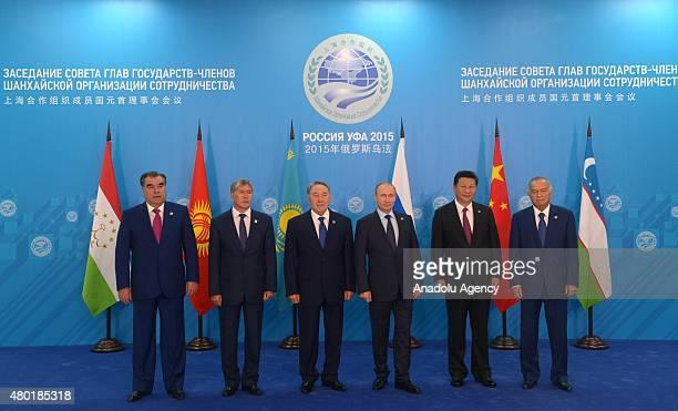 Tajikistan's President Emomali Rahmon, Kyrgyz President Almazbek Atambayev, Kazakhstan's President Nursultan Nazarbayev, Russian President Vladimir...