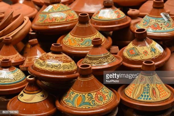 Tajine pots on display for sale in Fes medina On Thursday June 29 in Fes Morocco
