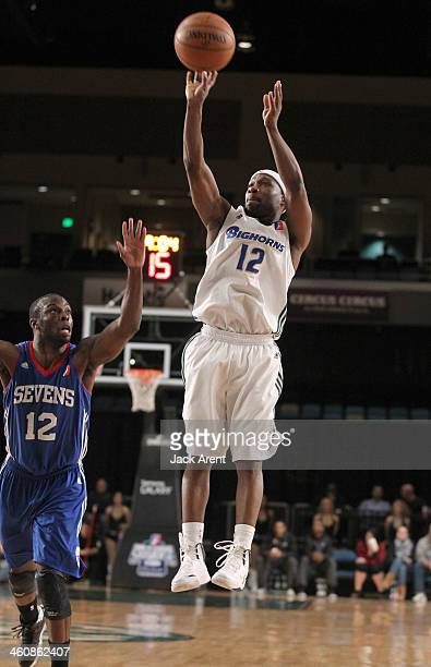 Tajuan Porter of the Reno Bighorns shoots the ball against the Delaware 87ers during the 2014 NBA DLeague Showcase presented by Samsung Galaxy on...