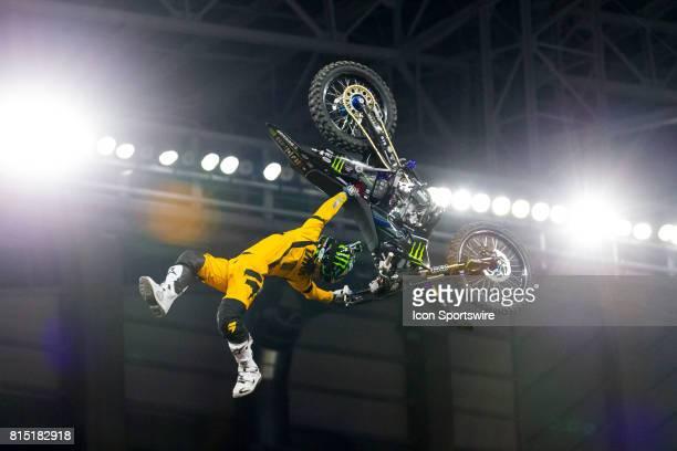 Taka Higashino does a trick during Moto X Freestyle at X Games Minneapolis on July 14 2017 at US Bank Stadium in Minneapolis Minnesota