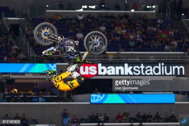 Taka Higashino flips during Moto X Freestyle at X Games Minneapolis on July 14 2017 at US Bank Stadium in Minneapolis Minnesota