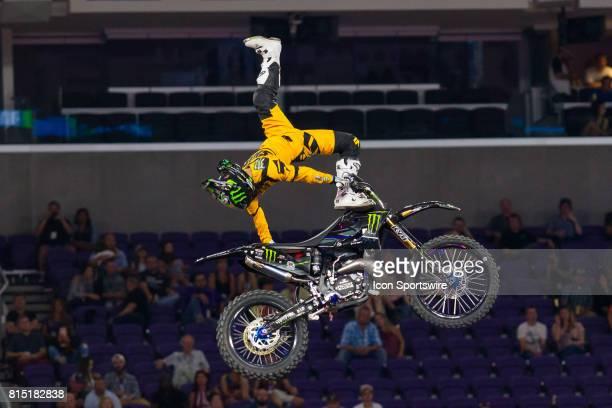 Taka Higashino kicks his leg out during Moto X Freestyle at X Games Minneapolis on July 14 2017 at US Bank Stadium in Minneapolis Minnesota
