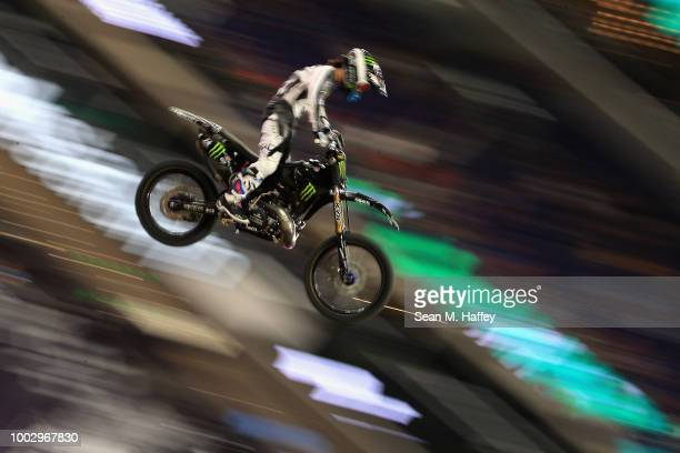 Taka Higashino of Japan competes in the Moto X Freestyle Final event of the ESPN XGames at US Bank Stadium on July 20 2018 in Minneapolis Minnesota