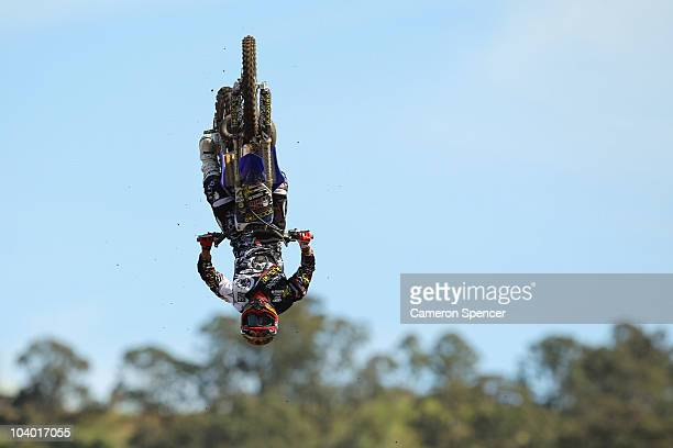 Taka Higashino of Japan in action during the final day of the Red Bull XRAY freestyle motocross competition at Razorback Ridge Picton on on September...