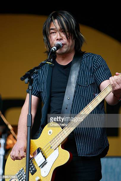 Taka Hirose of Feeder performs on stage at Knebworth House on August 2, 2009 in Stevenage, England.
