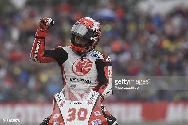 Takaaki Nakagami of Japan and Idemitsu Honda Team Asia celebrates the victory at the end of the Moto2 race during the MotoGP Netherlands - Race at on...