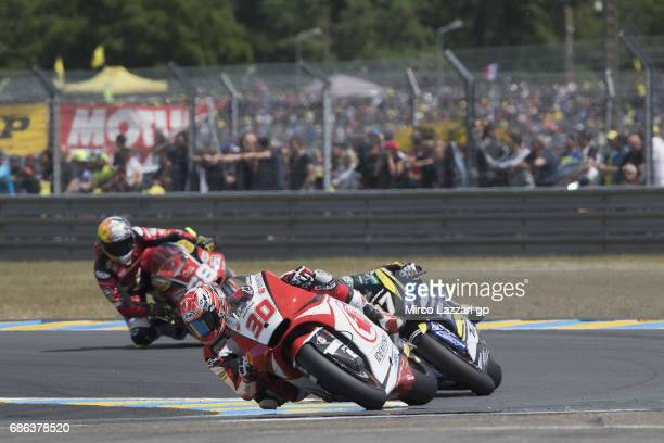 Takaaki Nakagami of Japan and Idemitsu Honda Team Asia leads the field during the Moto2 race during the MotoGp of France Race on May 21 2017 in Le...