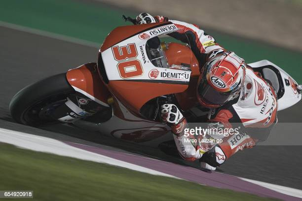 Takaaki Nakagami of Japan and Idemitsu Honda Team Asia rounds the bend during Moto2 And Moto3 Tests In Losail at Losail Circuit on March 18, 2017 in...
