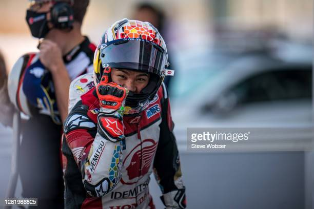 Takaaki Nakagami of Japan and LCR Honda IDEMITSU ceberates his first ever MotoGP pole position at parc ferme during the qualifying for the MotoGP of...