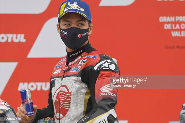 Takaaki Nakagami of Japan and LCR Honda Idemitsu celebrates the third place in MotoGP at the end of the qualify during the qualifying for the MotoGP...