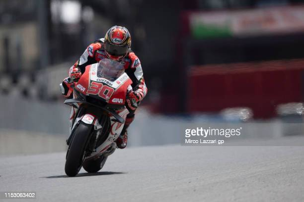 Takaaki Nakagami of Japan and LCR Honda Idemitsu heads down a straight during the qualifying practice during the MotoGp of Italy - Qualifying at...