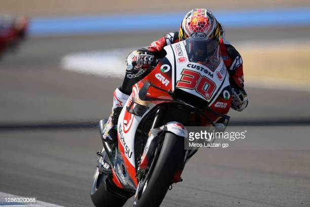 Takaaki Nakagami of Japan and LCR Honda Idemitsu heads down a straight during the MotoGP tests at the Circuito de Jerez on July 15, 2020 in Jerez de...