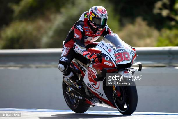 Takaaki Nakagami of Japan and LCR Honda Idemitsu heads down a straight during the MotoGP of Spain - Free Practice at Circuito de Jerez on July 17,...