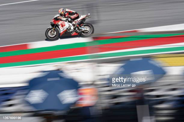 Takaaki Nakagami of Japan and LCR Honda Idemitsu heads down a straight during the MotoGP Of Styria Qualifying at Red Bull Ring on August 22, 2020 in...
