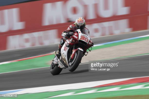 Takaaki Nakagami of Japan and LCR Honda Idemitsu heads down a straight during the MotoGP of Netherlands - Qualifying at TT Circuit Assen on June 26,...