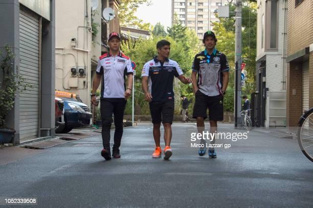 Takaaki Nakagami of Japan and LCR Honda Idemitsu Jorge Martin of Spain and Del Conca Gresini Moto3 and Franco Morbidelli of Italy and EG 00 Marc VDS...