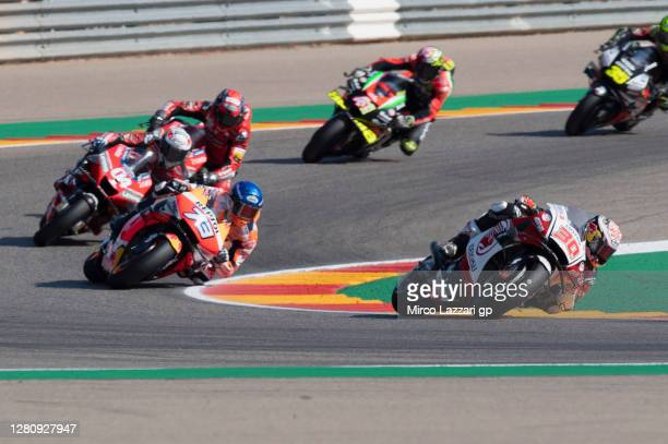 Takaaki Nakagami of Japan and LCR Honda Idemitsu leads the field during the MotoGP race during the MotoGP of Aragon at Motorland Aragon Circuit on...
