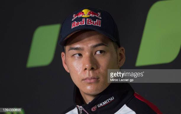 Takaaki Nakagami of Japan and LCR Honda Idemitsu looks on during the press conference pre event during the MotoGP Of Czech Republic - Previews at...