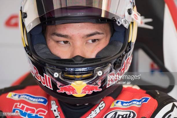 Takaaki Nakagami of Japan and LCR Honda Idemitsu looks on in box during the MotoGP Of San Marino - Free Practice at Misano World Circuit on September...