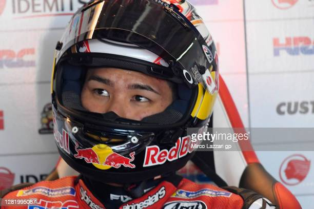 Takaaki Nakagami of Japan and LCR Honda Idemitsu looks on in box during the qualifying for the MotoGP of Teruel at Motorland Aragon Circuit on...
