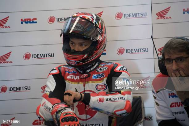 Takaaki Nakagami of Japan and LCR Honda Idemitsu prepares to start in box during the MotoGP qualifying practice during the MotoGp Red Bull US Grand...
