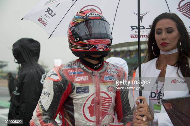 Takaaki Nakagami of Japan and LCR Honda Idemitsu prepares to start on the grid during the MotoGP race during the MotoGp Of Great Britain Race at...