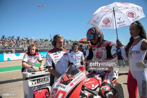 Takaaki Nakagami of Japan and LCR Honda Idemitsu prepares to start on the grid during the MotoGP race during the MotoGP of Aragon Race at Motorland...