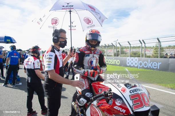 Takaaki Nakagami of Japan and LCR Honda Idemitsu prepares to start on the grid during the MotoGP race during the MotoGP of Europe at Comunitat...