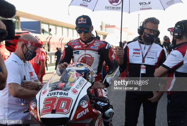Takaaki Nakagami of Japan and LCR Honda Idemitsu prepares to start on the grid during the MotoGP race during the MotoGP of Portugal at Algarve Motor...