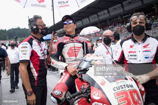 Takaaki Nakagami of Japan and LCR Honda Idemitsu prepares to start on the grid during the MotoGP race during the MotoGP of Austria - Race at Red Bull...