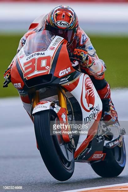 Takaaki Nakagami of Japan and LCR Honda Idemitsu rides during the MotoGP of Valencia Free Practice at Ricardo Tormo Circuit on November 16 2018 in...