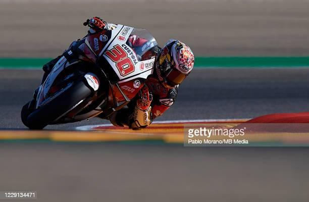 Takaaki Nakagami of Japan and LCR Honda Idemitsu rides during the qualifying for the MotoGP of Aragon at Motorland Aragon Circuit on October 17, 2020...