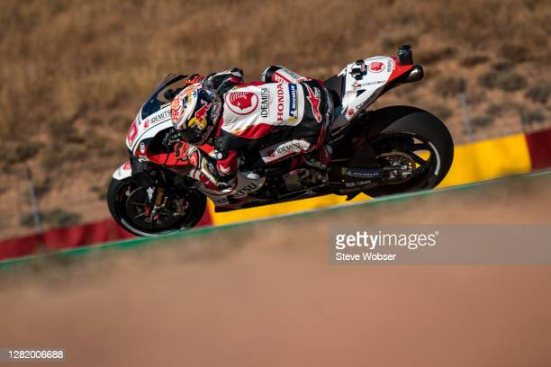 Takaaki Nakagami of Japan and LCR Honda IDEMITSU rides during the qualifying for the MotoGP of Teruel at Motorland Aragon Circuit on October 24, 2020...