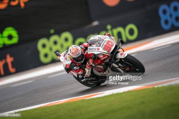 Takaaki Nakagami of Japan and LCR Honda IDEMITSU rides during the qualifying for the MotoGP of Europe at Comunitat Valenciana Ricardo Tormo Circuit...