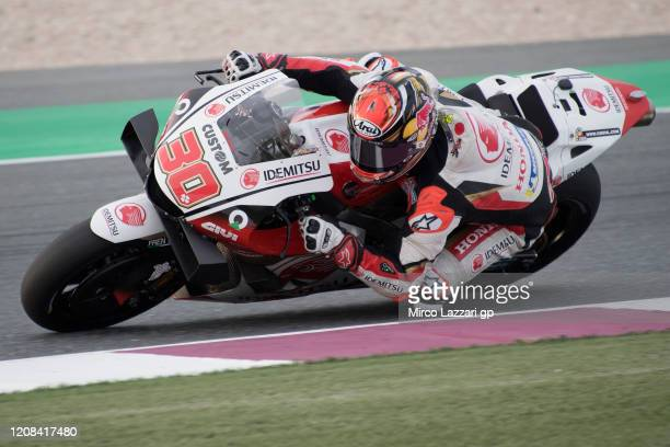 Takaaki Nakagami of Japan and LCR Honda Idemitsu rounds the bend during the MotoGP Tests at Losail Circuit on February 24, 2020 in Doha, Qatar.