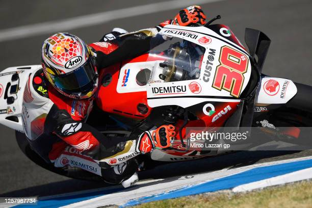 Takaaki Nakagami of Japan and LCR Honda Idemitsu rounds the bend during the MotoGP of Andalucia - Free Practice at Circuito de Jerez on July 24, 2020...