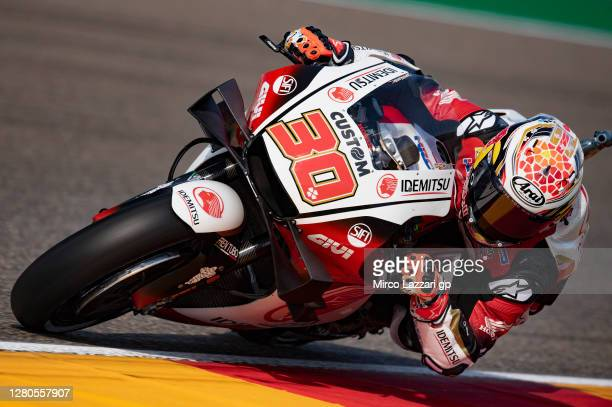 Takaaki Nakagami of Japan and LCR Honda Idemitsu rounds the bend during the free practice for the MotoGP of Aragon at Motorland Aragon Circuit on...