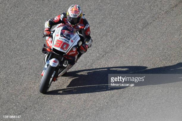 Takaaki Nakagami of Japan and LCR Honda Idemitsu rounds the bend during the qualifying for the MotoGP of Teruel at Motorland Aragon Circuit on...