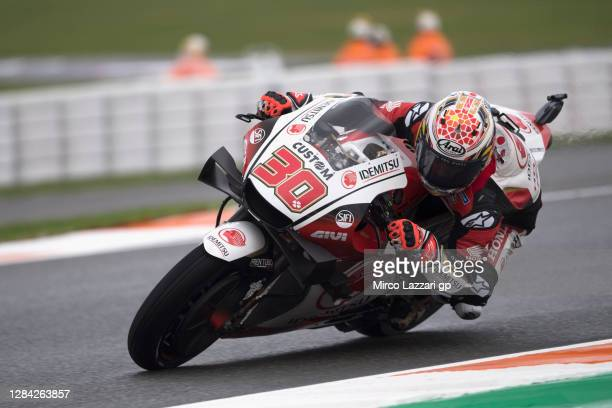 Takaaki Nakagami of Japan and LCR Honda Idemitsu rounds the bend during the free practice for the MotoGP of Europe at Comunitat Valenciana Ricardo...