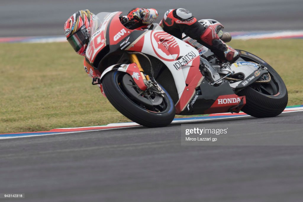 Takaaki Nakagami of Japan and LCR Honda Idemitsu rounds the bend during the qualifying practice during the MotoGp of Argentina - Qualifying on April 7, 2018 in Rio Hondo, Argentina.