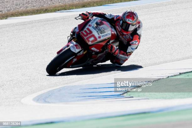 Takaaki Nakagami of Japan and LCR Honda Idemitsu rounds the bend during the Qualifying practice during the MotoGP Netherlands Qualifying on June 30...