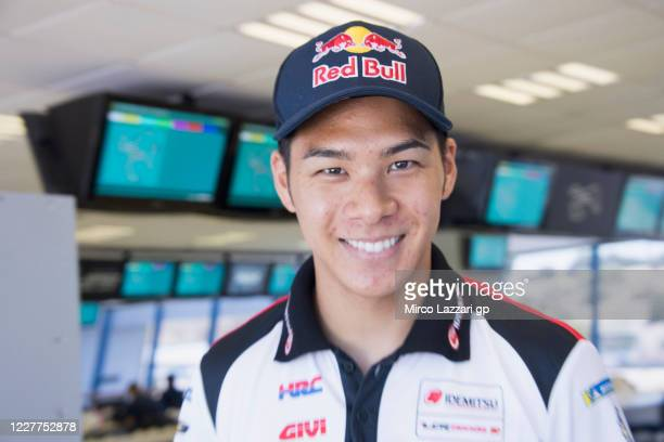 Takaaki Nakagami of Japan and LCR Honda Idemitsu smiles in the media center during the MotoGP of Andalucia - Previews at Circuito de Jerez on July...