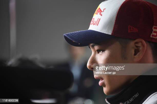 Takaaki Nakagami of Japan and LCR Honda Idemitsu speaks with journalists during the MotoGP of Japan - Press Conference pre-event at Twin Ring Motegi...