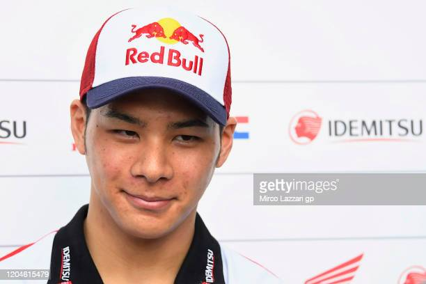 Takaaki Nakagami of Japan and LCR Honda Idemitsu speaks with journalists during the MotoGP Pre-Season Tests at Sepang Circuit on February 07, 2020 in...