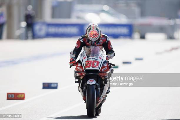 Takaaki Nakagami of Japan and LCR Honda Idemitsu starts from box during the MotoGP of France: Qualifying at Bugatti Circuit on October 10, 2020 in Le...