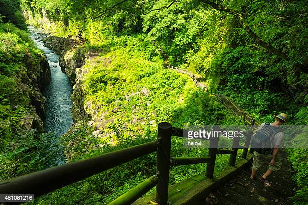 takachiho gorge - narrow stock pictures, royalty-free photos & images