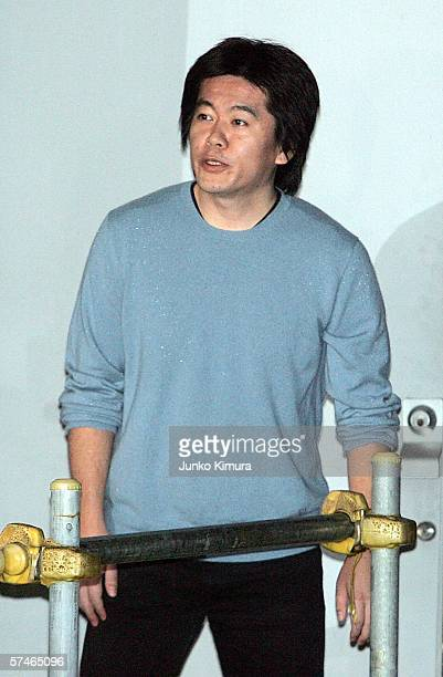 Takafumi Horie former president of the internet company Livedoor Co exits the Tokyo detention center April 27 2006 in Tokyo Japan Horie was held for...