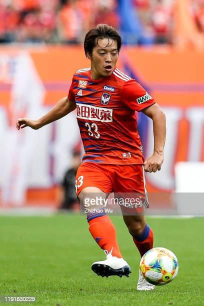 Takagi Yoshiaki of Albirex Niigata controls the ball during the J.League J2 match between Albirex Niigata v Kagoshima United at Denka Big Swan...
