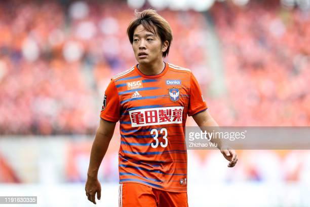 Takagi Yoshiaki of Albirex Niigata in action during the J.League J2 match between Albirex Niigata v Kagoshima United at Denka Big Swan Stadium on...