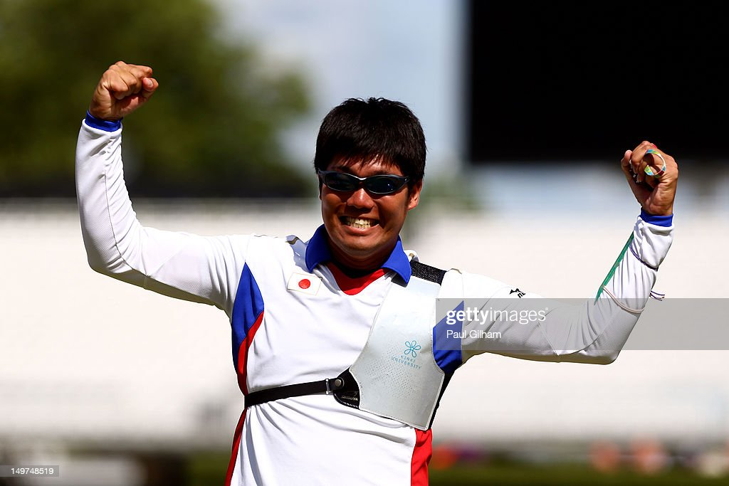 Takaharu Furukawa of Japan celebrates after defeating Rick Van Der Ven of Netherlands in the Men's Individual Archery Semifinal match on Day 7 of the London 2012 Olympic Games at Lord's Cricket Ground on August 3, 2012 in London, England.